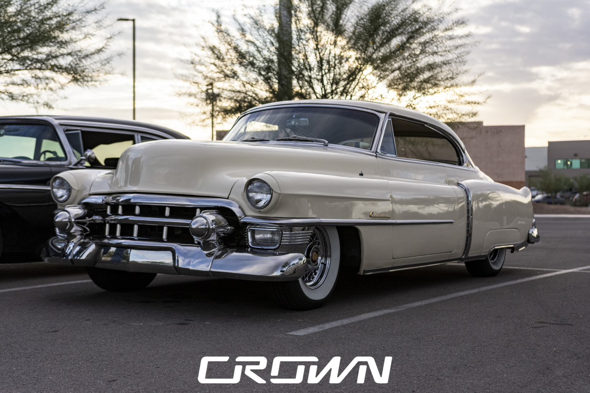 white 1953 Cadillac coupe deville